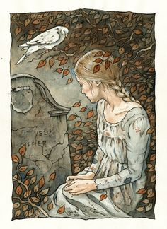 Cinderella planted a tree at her mother's grave. When she needed dresses (she went to the ball on three different days) she went to the tree and asked the birds who lived for a dress. Each time the dress was more magnificent than the last.